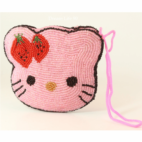 """Hello Kitty Beaded Purse, Small (4.5"""")  Pink with Zippered Top"""