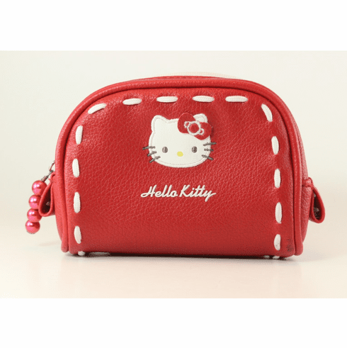 Hello Kitty Small Case, Zippered, Red with White Stitching