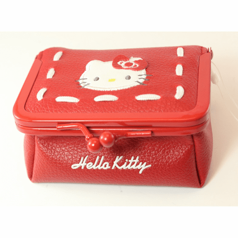 Hello Kitty Small Make-Up Case, Snap-Close, Red with White Stitching