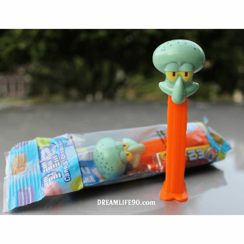 New! 2014 Squidward Tentacles Pez on Orange Stem, from the SpongeBob Pez Series, Combo Pack
