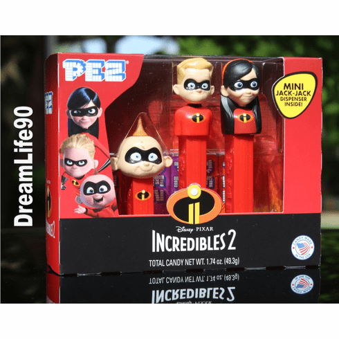 Incredibles Pez, Tri-Pack Gift Set, Violet, Dash and Jack Jack on Short Stem, Loose or Mint in Box