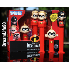 NEW! 2018 Incredibles Pez, Tri Pack, Violet, Dash and Jack Jack on Short Stem, COMBO