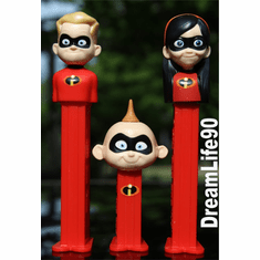 NEW! 2018 Incredibles Pez, Tri-Pack, Violet, Dash and Jack Jack on Short Stem, LOOSE