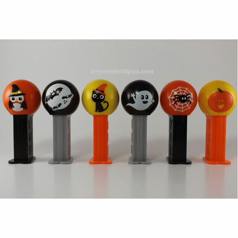 "NEW! 2019 Halloween Pez 6 Piece Assortment, Short Stems! Bats, Cat, Spider, Ghost, Pumpkin, and ""Owl Witch"""