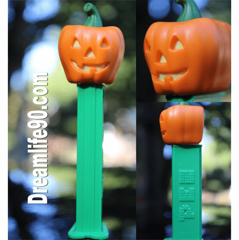 Pumpkin Pez on Green Stem with Triangle Shaped Yellow Eyes and Nose, Loose
