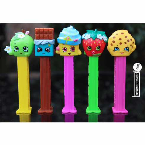 Shopkins Pez, Set of 5, Cheeky Chocolate, Kooky Cookie, Strawberry Kiss, Cupcake Queen and Apple Blossom, LOOSE