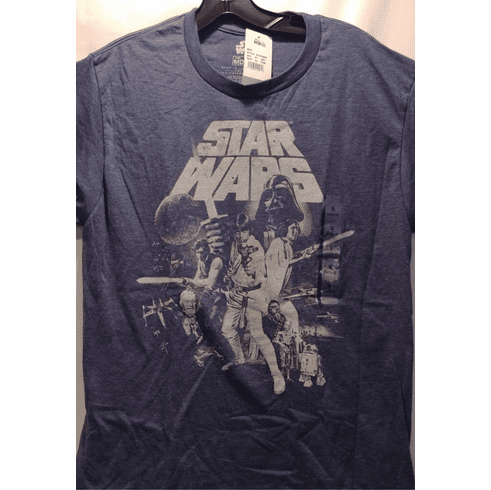 Star Wars Graphic T Shirt, Medium, Heathered Blue, Classic Characters, New with Tags ONLY 1 IN STOCK