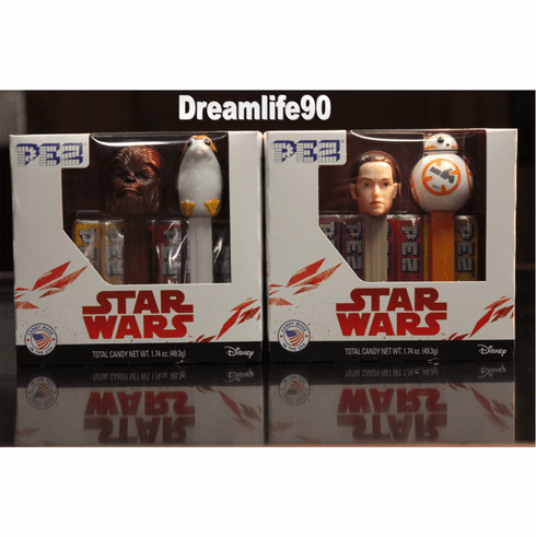 Star Wars Pez, Episode 8, DOUBLE TWIN PACK, BB8, Rey, Chewbacca & Porg, Mint in Box