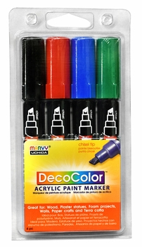 Decocolor Acrylic Chisel Tip Set of 4- Primary Colors
