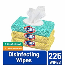 Clorox Disinfecting Wipes Bleach Free Cleaning Wipes - Fresh Scent - 225 wipes (3 packs of 75 wipes)