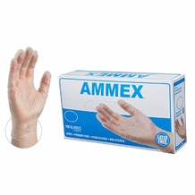 Ammex Disposable Clear Vinyl Gloves , 4 Mil,Latex-Free, Powder-Free, Anti Allergy  Multi Purpose Use (100 gloves)
