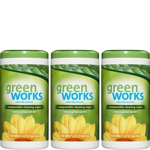 Green Works Compostable Cleaning Wipes, Biodegradable Cleaning Wipes - Original Fresh, 62 Wipes per Canister- 186 Wipes