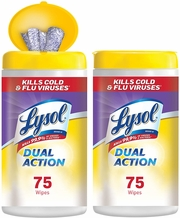 Lysol Dual Action Disinfecting Wipes w. Scrubbing Texture- 150 count