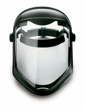 Uvex Bionic Face Shield, Uncoated Visor, Clear Polycarbonate/Black Matte Shell
