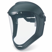 Uvex Bionic Face Shield, Uncoated Visor, Clear Polycarbonate/Black Matte Shell with Hard Hat Adapter