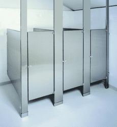 (241) Floor-to-Ceiling, In-A-Corner Stainless Steel Restroom Stall