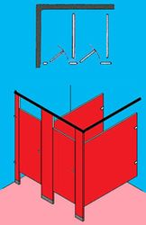 411 In-A-Corner - Floor Mounted / Overhead Braced - Solid Plastic / Polymer Partitions