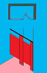 414 Alcove - Floor Mounted / Overhead Braced - Solid Plastic / Polymer Partitions