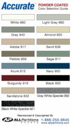 Accurate Powder Coated Metal Color Chart