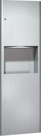 Contemporary Recessed Paper Towel Dispenser and Waste Receptacle