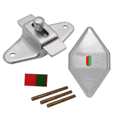 Slide Latch with Occupied Indicator, Satin Stainless Steel