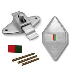 Slide Latch with Occupied Indicator, Offset, Satin Stainless Steel