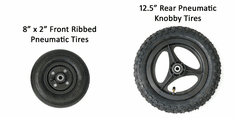 "Convaid 8x2"" Front Ribbed, 12.5"" Rear Pneumatic Knobby Tires"