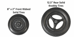 "Convaid 8x2"" Front Ribbed, 12.5"" Rear Solid Knobby Tires"