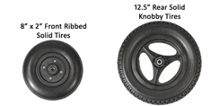 """Convaid 8x2"""" Front Ribbed, 12.5"""" Rear Solid Knobby Tires"""