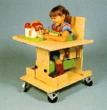 Kaye Products Bolster Chair with Tray, Casters & Chest Support Preschool
