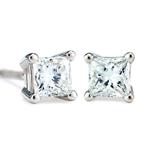1 Carat Princess-Cut 18k White Gold Stud Earrings