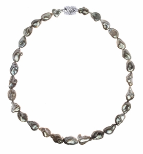 10.1 x 12.1mm Tahitian Pearl Keshi Necklace