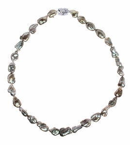 10.1 x 12.3mm Tahitian Pearl Keshi Necklace