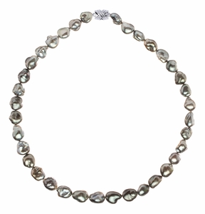 10.2 x 11.1mm Tahitian Pearl Keshi Necklace