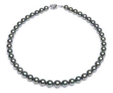 10.2 x 11.9mm Grey Blue Tahitian Pearl Necklace