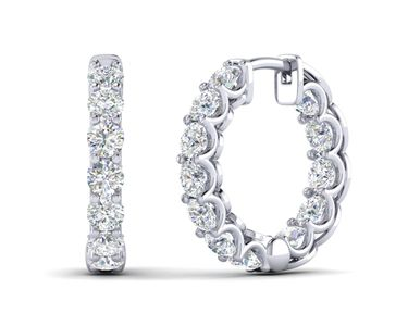 Diamond Hoop Earring Inside Out with 10 pointers