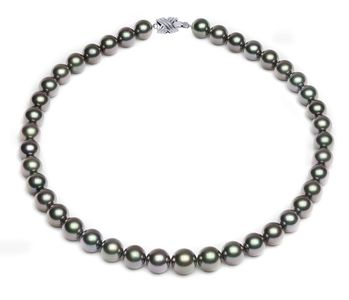 10 x 11.9mm Dark Grey Green Tahitian Pearl Necklace