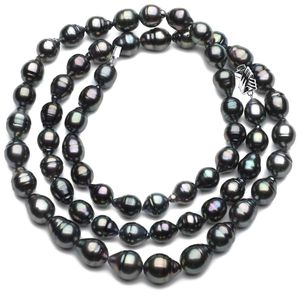 10 x 12mm Black Green Baroque Tahitian Pearl Necklace