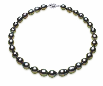 10 x 12mm Tahitian South Sea Peacock Baroque Pearl Necklace