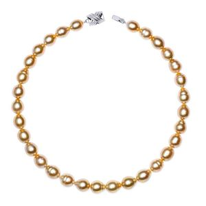 10mm x 12.2mm Golden South Sea Baroque Pearl Necklace