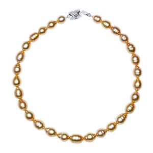10mm x 12mm Golden Baroque South Sea Pearl Necklace