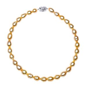 10mm x 12mm Golden South Sea Baroque Pearl Necklace