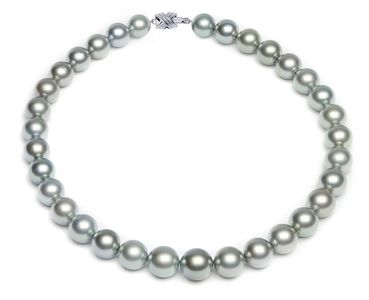 11.5 x 14.2mm Grey Tahitian Pearl Necklace