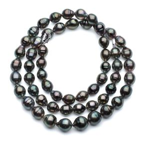 11 x 13mm Black Green Baroque Tahitian Pearl Necklace