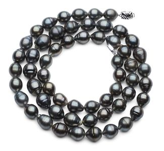 11 x 13mm Dark Black Baroque Tahitian Pearl Necklace 32 Inches
