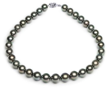 12.1 x 14.1mm Black Green Tahitian Pearl Necklace