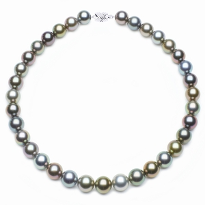 SOLD | 12 x 13mm Multicolor Tahitian Pearl Necklace