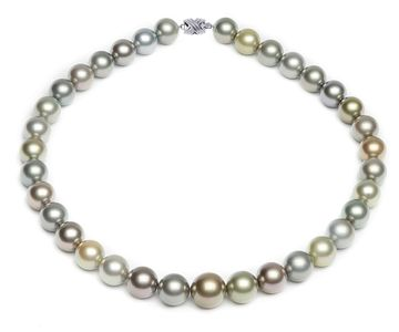 12 x 14.8mm Pastel Multicolor Tahitian Pearl Necklace