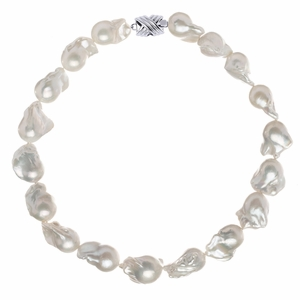 16 x 17mm White Freshwater Baroque Pearl Necklace
