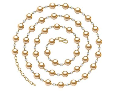 36 Inch Golden Pearl and Diamond Timeless Necklace